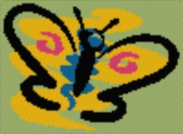 Latch Hook Rug Pattern Chart: Butterfly - EMAIL2u - $5.75