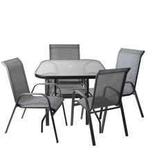 Northlight 5-Piece White Gray Outdoor Mesh Steel Rectangle Patio Dining Set - $450.44