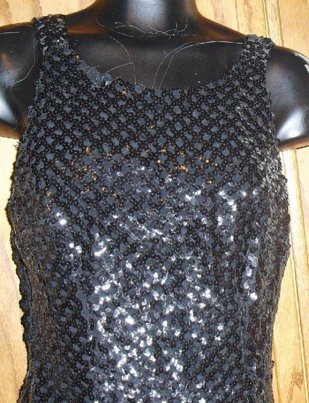 Vtg 60s SAKS 5TH AVE black Bandage Dress Gown sequins