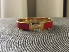 Authentic HERMES Clic Clac Bracelet H Red Gold GHW Bangle PM Enamel