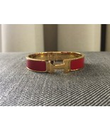Authentic HERMES Clic Clac Bracelet H Red Gold GHW Bangle PM Enamel  - $299.00