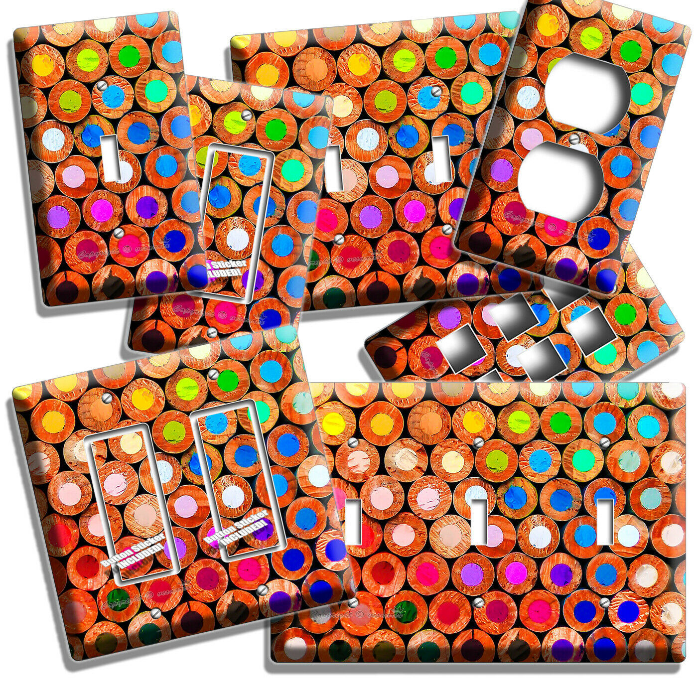 COLORFUL COLOR PENCILS BACKS LIGHT SWITCH OUTLET PLATE NEW ART STODIO ROOM DECOR