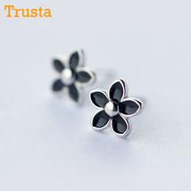 Trusta Sterling Silver Earring Fashion Cute Tiny Black Glaze Flower Stud Earring - $11.68