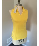 Adidas Women's Sleeveless Golf Polo Shirt Size Small Yellow Stripe NWT - $16.65
