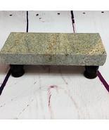 Granite Cheese Tray Board Tan Brown Black Specks Walnut Stained Legs CT014 - $45.00