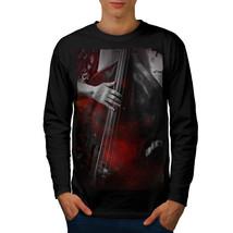 Jazz Bass Art Old Music Tee Bass Player Men Long Sleeve T-shirt - $14.99