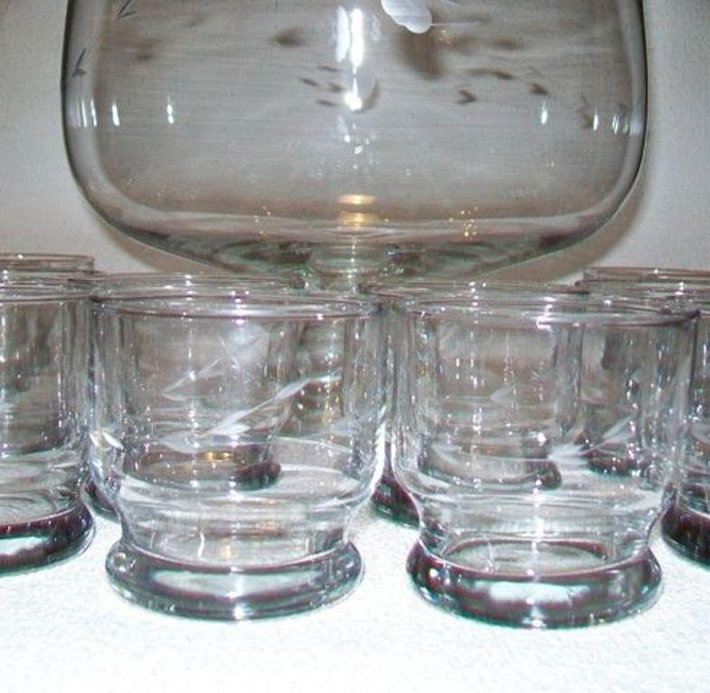 Vintage Crystal Footed Punch Bowl and Cups Set