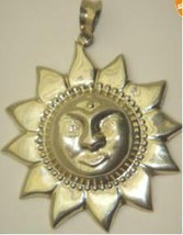 Sterling Silver Sun Pendant Necklace Sunflower ... - $34.95