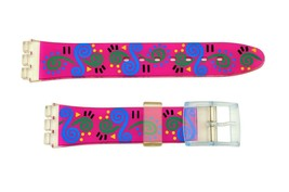 Swatch Replacement 17mm Plastic Watch Band Strap Pink with Swirl Design - $8.95