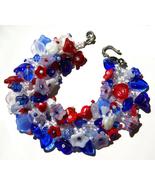 Patriotic Flower Fringe Bracelet Bead Kit Red White Blue - $26.99