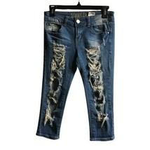 Street Denim Women's Blue Ripped Capri Jeans Pants Cotton Stretch Fit Sz... - $19.79
