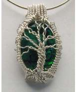 Wire Wrap Sterling Silver Green Paua Shell Pendant - $191.26