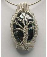 Wire Wrap Solid Sterling Silver Hematite Pendant - $190.00