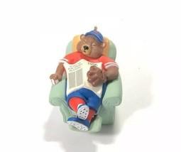 Keepsake Ornament Happy Holi-doze Boston Red Sox Bear 1996 Hallmark - $7.91