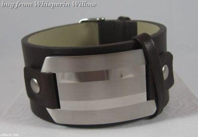 Leather bracelet with id plate 1 2