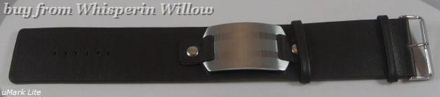 """7""""-8.25"""" Leather Bracelet with Stainless Steel ID Plate"""