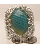 Wire Wrapped Sterling Silver Green/White Sardon... - $175.00