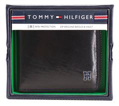 Tommy Hilfiger Men's Leather Zip Around Wallet Passcase Billfold Rfid 31TL130047 image 2