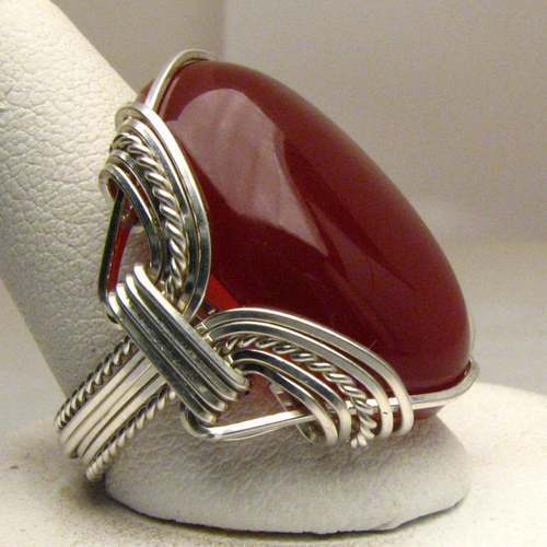 Astonishing Wire Wrap Carnelian Silver Ring