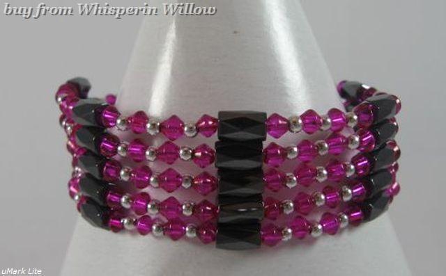 Magenta Color Crystal Magnetic Hematite Lariat