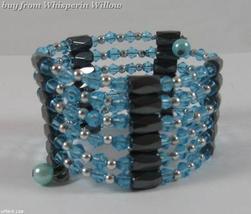 Sky Blue Crystal Magnetic Hematite Lariat - $14.00