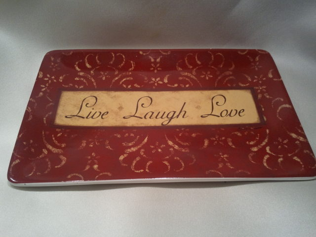 Live Laugh Love Small Plate by Stephanie Marrott