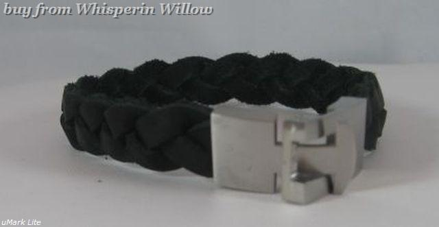 8.5 Braided Black Leather Bracelet/Stainless Steel Closure