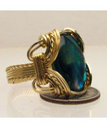 Wire Wrapped 14 Kt Gold Filled Green Paua Shell... - $150.00