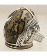 Wire Wrapped 925 Sterling Leopard Skin Agate Ring - $130.00