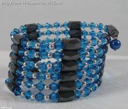 Royal Blue Crystal Magnetic Hematite Lariat - $14.00