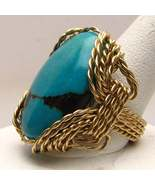 New Turquoise Wire Wrapped Ring Gold Filled  - $150.00