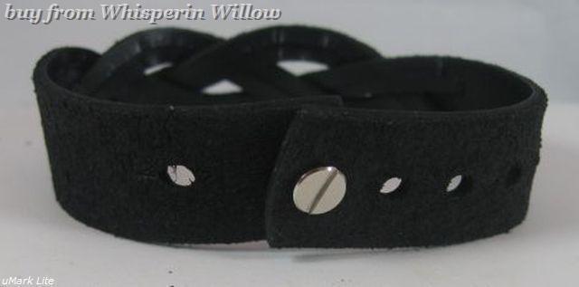 Braided Black Leather Adjustable Bracelet