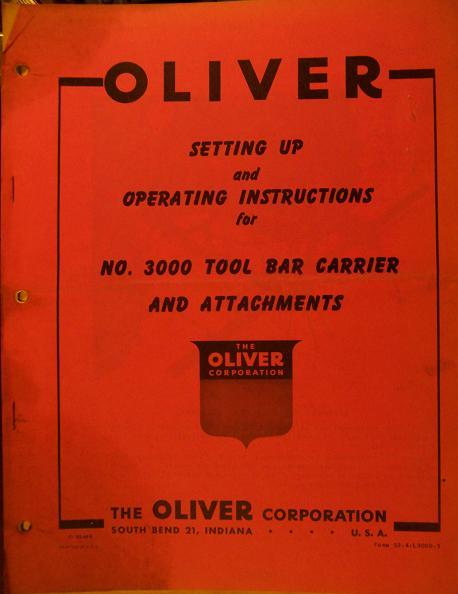 Oliver 3000 Toolbar Carrier & Attachments Operator's Manual - Original