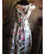 Jane Andre 50s silk floral Rockabilly dress VLV XS - $166.16