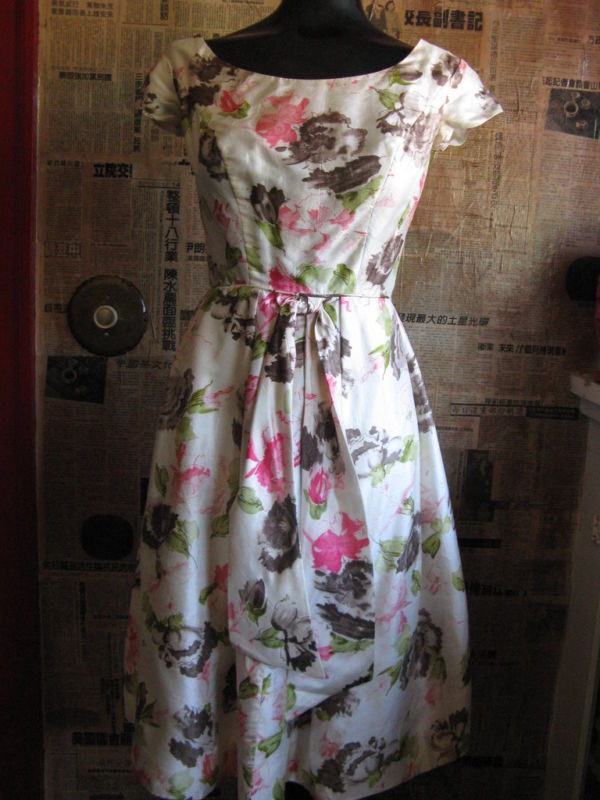 Jane Andre 50s silk floral Rockabilly dress VLV XS