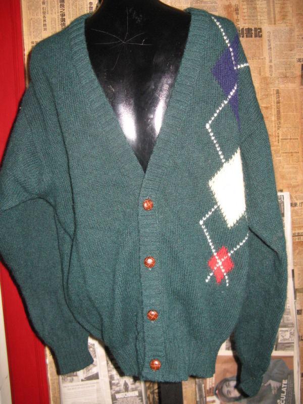 Vintage Lord Jeff Scotland Argyle cardigan sweater L