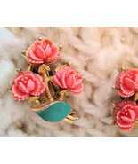 Faux Coral Lucite Flowers on Gold Vintage Clip Earrings Roses - $16.96