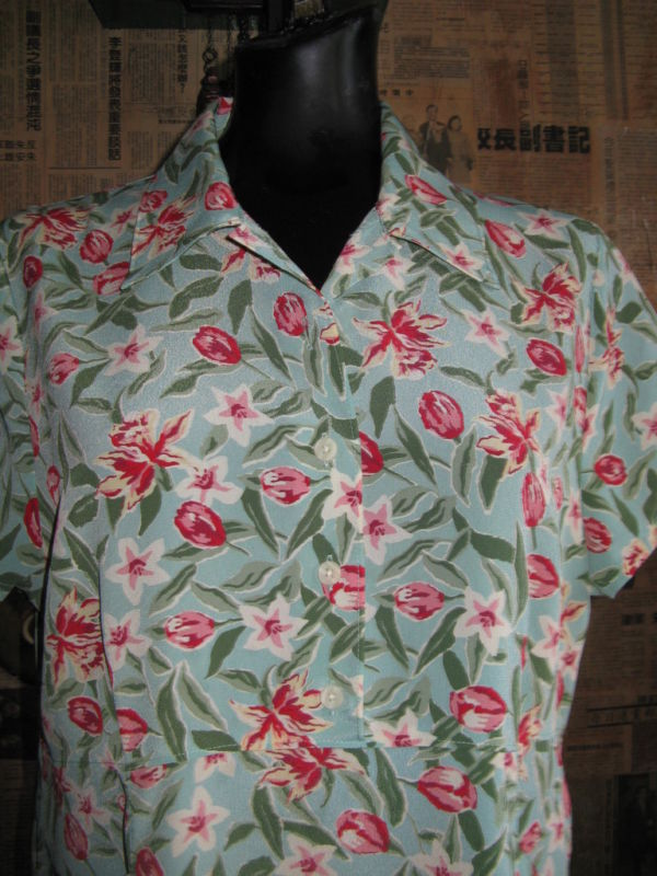 Vintage 40s swing style crepe floral Lindy dress VLV