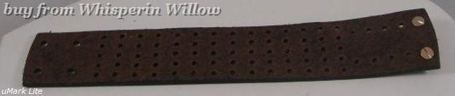 Wide Brown Leather Bracelet with Holes