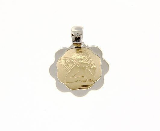18K YELLOW WHITE GOLD PENDANT FLOWER GUARDIAN ANGEL MEDAL ENGRAVABLE ITALY MADE