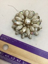 """Vintage Brooch Pin Large 2.5"""" Rhinestones And Faux Pearl Tiered Gold Tone - $11.65"""