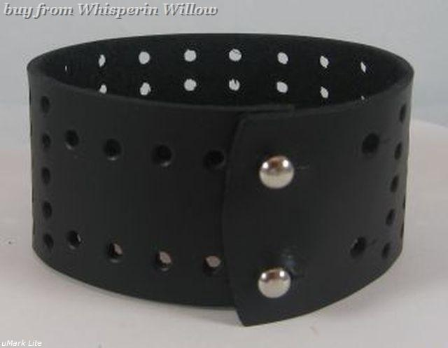 Wide Black Leather Bracelet with Holes