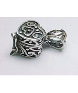 STERLING SILVER HEART KEEPSAKE BOX PENDANT - Designer signed - FREE SHIP... - $42.00