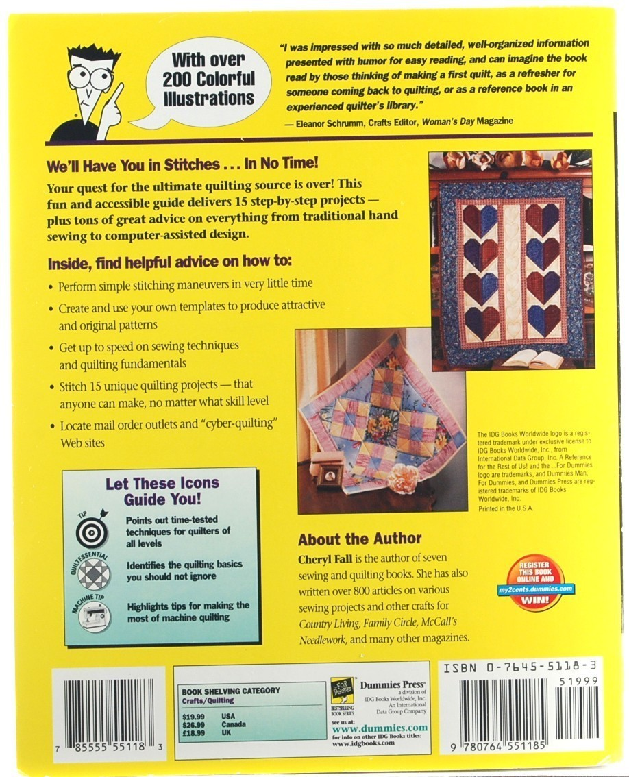 Quilting for Dummies Cheryl Fall Quilt Patterns Sewing Crafts