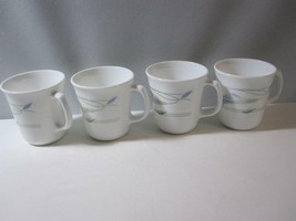 """Set 4 Blue Wreath Corning Corelle Mugs/Cups 3.5"""" Tall -  Discontinued - $12.82"""