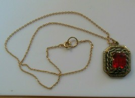 Vintage Sarah Coventry Red Faceted Prong-set Pendant Necklace  - $18.80