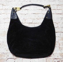 Details Black Leather Suede Single Strap Hobo Bag Purse