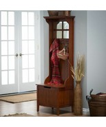 Cherry Finish Wooden Hall Tree Mirror Coat Rack Hat Hooks Storage Stand ... - $292.94