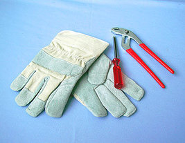 Work Gloves Leather palm with cuff - $3.00