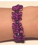 OOAK Purple satin and bead bracelet - $12.00